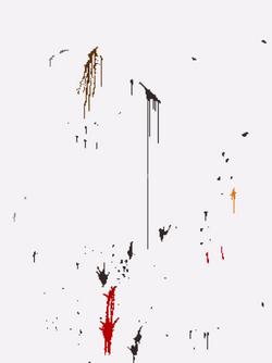 1989 年 5 月向毛泽东画像上投掷彩色颜料所留下的污迹