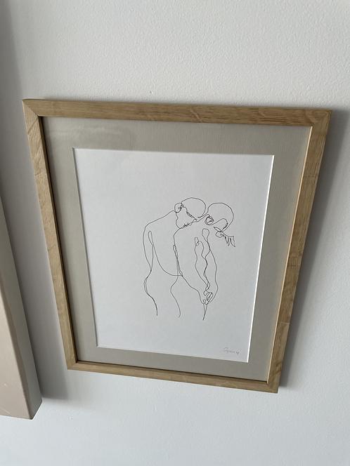 Dibujo de abrazo robado
