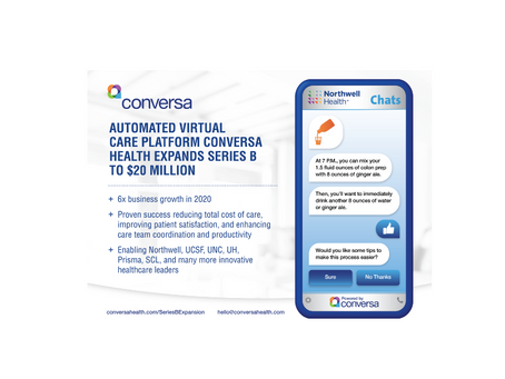 Automated Virtual Care Platform Conversa Health Expands Series B to $20 Million