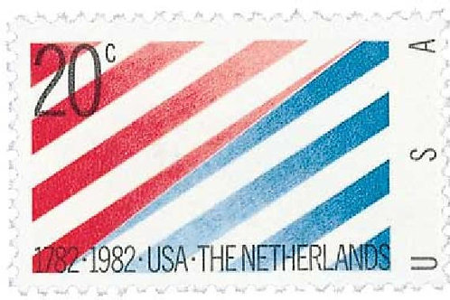 Pack of 25 Unused U.S. and Netherlands Relations - 20c - 1982 - Vintage Postage