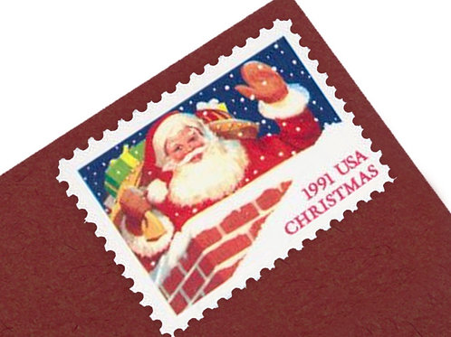 29¢ Santa in Chimney - 25 Stamps