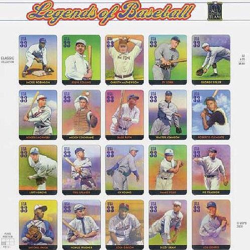 Pack of 20 Unused of Baseball Stamps - 33c - Unused Vintage Postage from 2000 -