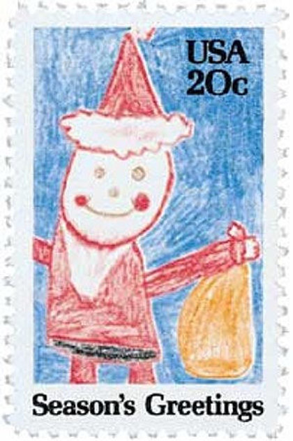 Pack of 25 Unused Santa Claus Contemporary Christmas Stamps - 20c -1984 -Vintage