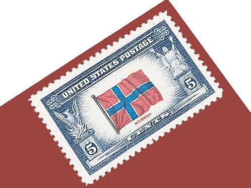 Pack of 25 Unused Flag of Norway Postage Stamps - 5c - Vintage 1943 - Unused