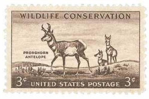 Pack of 25 Unused Pronghorn Antelope Postage Stamps - 3c - 1956 - Vintage Post