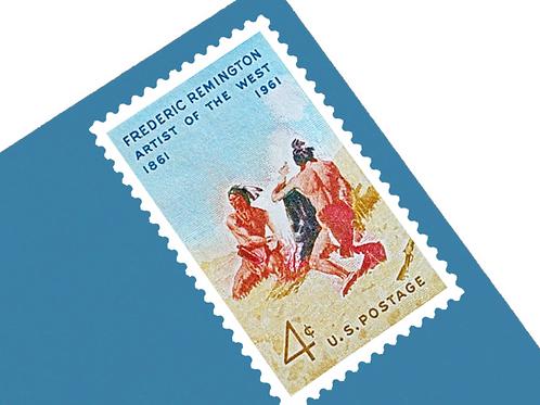 Pack of 25 Unused Frederic Remington Stamps - 4c - 1961 - Unused Vintage Postage