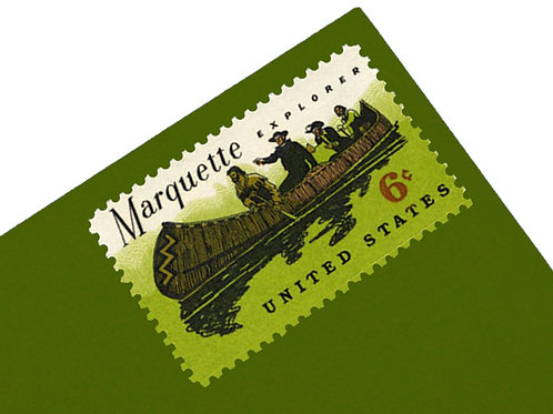 6¢ Father Marquette Canoe - 25 Stamps