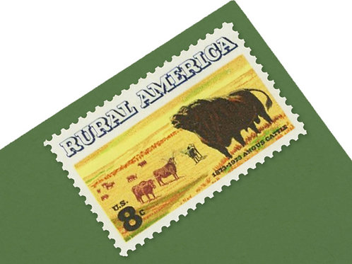 8¢ Rural America Angus Cattle - 25 Stamps