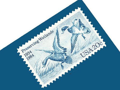 Pack of 25 Unused Preserving Wetlands Stamps - 20c - 1984 - Unused Vintage