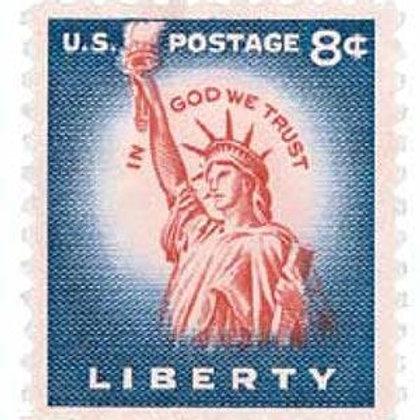 Pack of 25 Unused Statue of Liberty Stamps - 8c - 1954 - Unused Vintage Postage