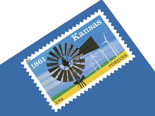 Pack of 20 Kansas Forever Stamps - Forever - 2011 - Unused Vintage Postage