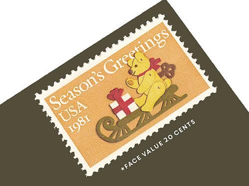Pack of 25 Unused Christmas Teddy Bear & Sleigh postage stamps - 20c - 1981