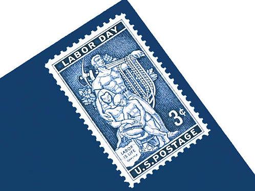 Pack of 25 Unused Labor Day Stamps - 3c - 1956 - Unused Vintage Postage - Quanti