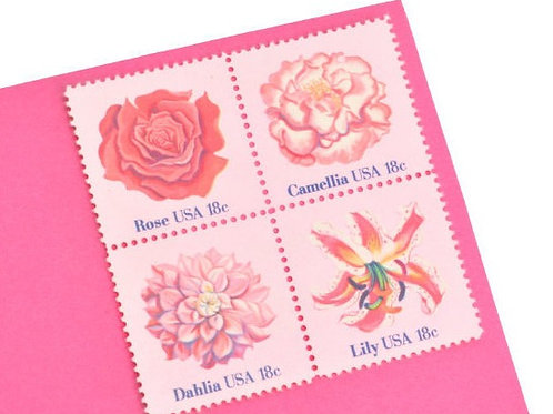 18¢ Pink Flowers - 24 Stamps