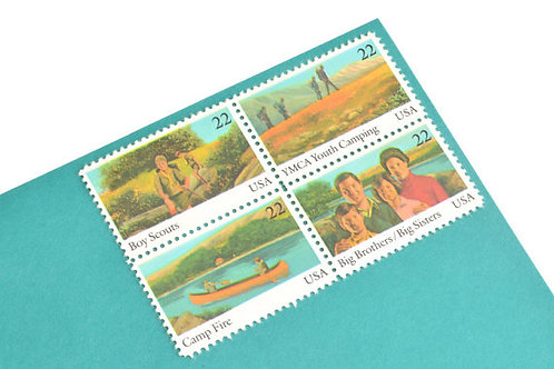 Pack of 25  Unused Boy Scout Stamps - 22c - International Youth Year