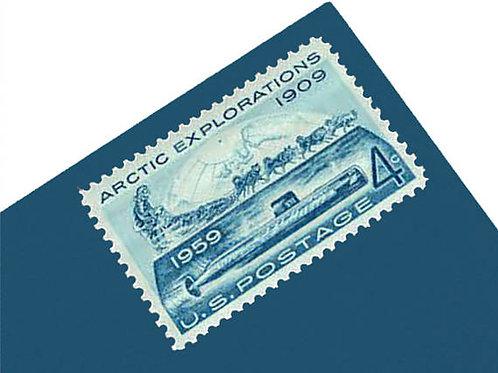 Pack of 25 Unused Arctic Explorations Stamps - 4c - 1959 -Unused Vintage Postage