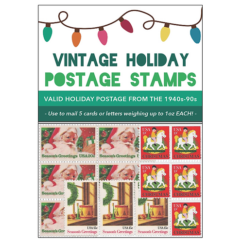 Vintage Holiday Postage Stamps 2018 - Green Pack