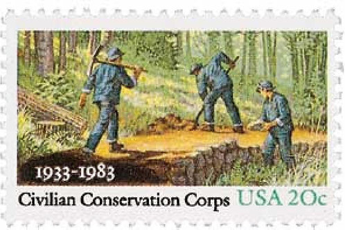 25 Civilian Conservation Corps. Postage Stamps - 20c - Vintage 1983