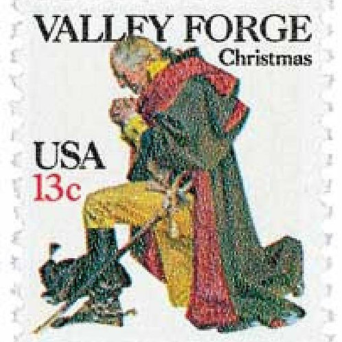 Pack of 25 Unused Washington at Valley Forge Traditional Christmas Stamps - 13c