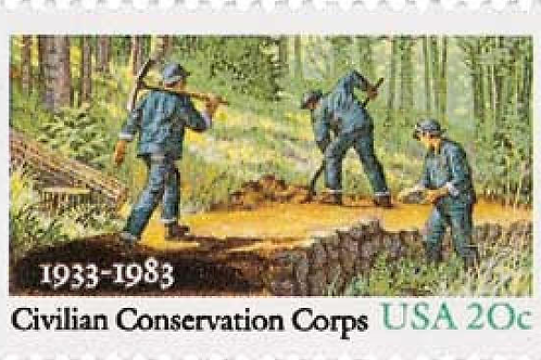 25 Civilian Conservation Corps. Postage Stamps - 20c - Vintage 1983 - Unused