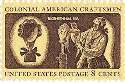 Pack of 25 Unused Colonial Craftsmen Stamps -8c - 1972 - Unused Vintage Postage