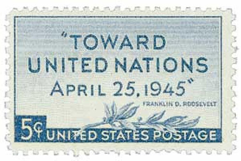 Pack of 25 Unused United Nations Peace Conference Stamps - 5c - 1945 - Vintage