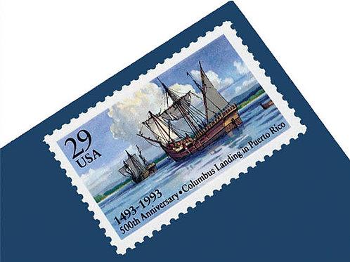 Pack of 25 Unused Columbus Landing in Puerto Rico Stamps - 29c - 1993