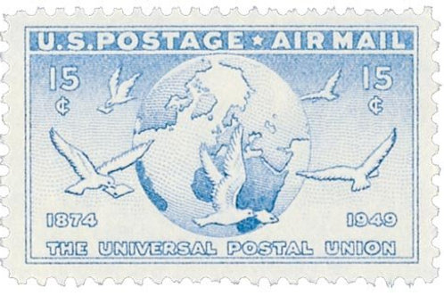 Pack of 25 Unused Globe & Doves Stamps - 15c - Vintage 1949 - Universal Postal U