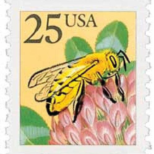 Pack of 25 Unused Honeybee Stamps - 25c - 1988 - Unused Vintage Postage