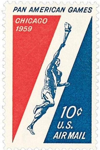 Pack of 25 Unused Chicago Pan American Games Stamps - 10c -  Vintage 1959