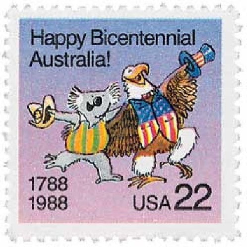 20 Australia Bicentennial Postage Stamps - 22c - 1988 - Unused - Quantity of 20