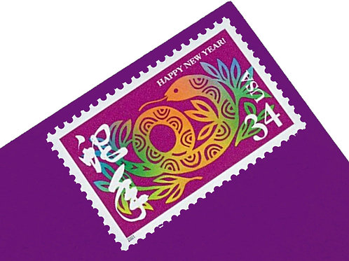 34¢ Chinese New Year of the Snake - 20 Stamps