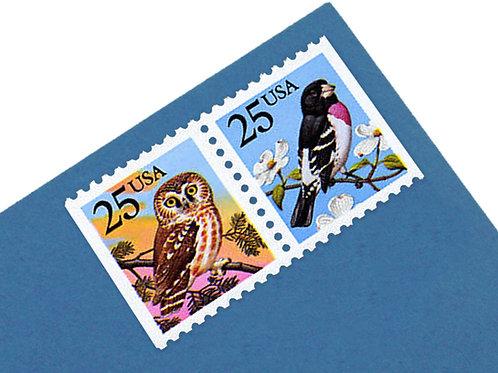 25¢ Owl and Grosbeak Bird - 20 Stamps