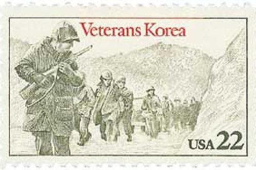 Pack of 25 Unused Korean War Veterans Postage Stamps - 22c - Vintage 1985