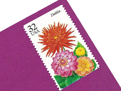 Pack of 20 Unused Fall Garden Flowers Postage Stamps -  32c - Quantity of 20