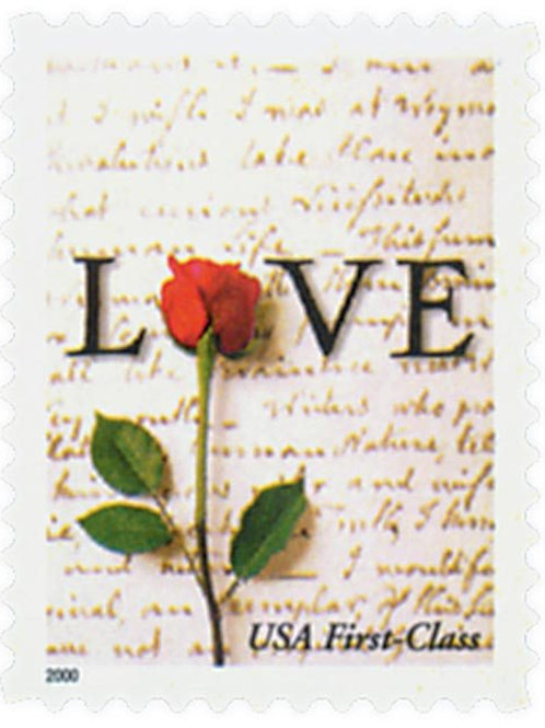 Pack of 20 Unused Rose & Love Letter Stamps - 34c - 2001 - Unused Vintage