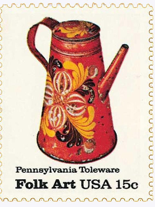 Pack of 25 Unused Pennsylvania Toleware Folk Art - 15c - 1979 - Unused Vintage