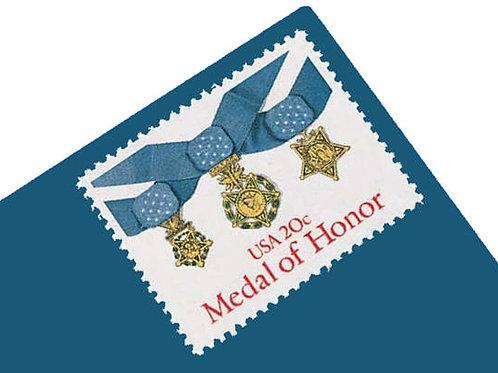 Pack of 20 Unused Medal of Honor Postage Stamps - 20c - 1983 - Unused