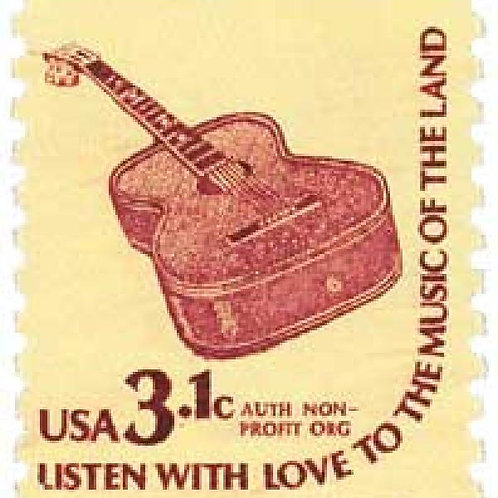 Pack of 25 Unused Guitar - 3.1c - 1979 - Unused Vintage Postage - Quantity of 25