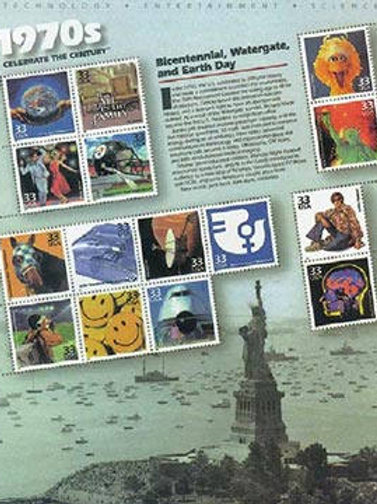15 Celebrate the Century 1970s Postage Stamps - 33c - Vintage 1999 - Unused