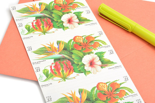 33¢ Tropical Flowers - 20 Stamps