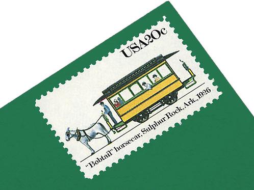 Pack of 25 Unused Early Electric Streetcar Postage Stamps - 20c - 1982 - Unused