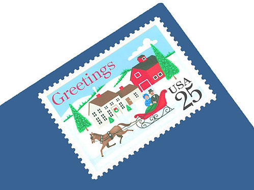 copy of Pack of 25 Unused Vintage Christmas Ornament Stamps from 1987 - 22c - Po