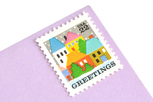 22¢ Colorful Christmas Village Scene - 25 Stamps
