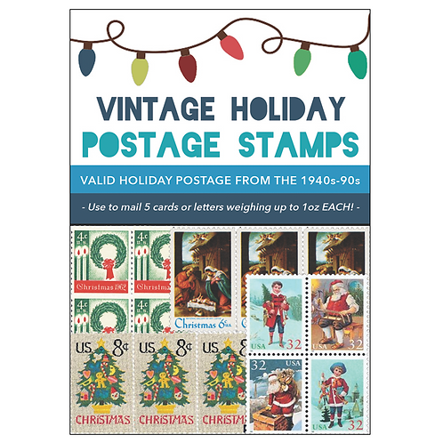 Vintage Holiday Postage Stamps 2018 - Blue Pack