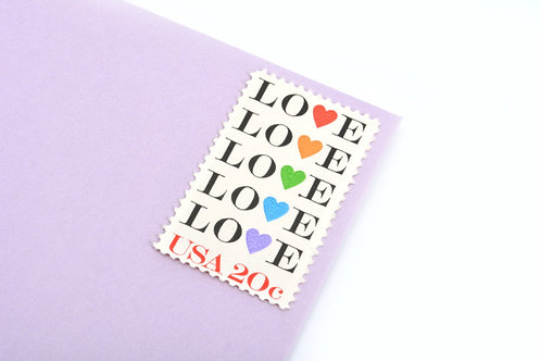 20¢ Rainbow Love Hearts - 25 Stamps