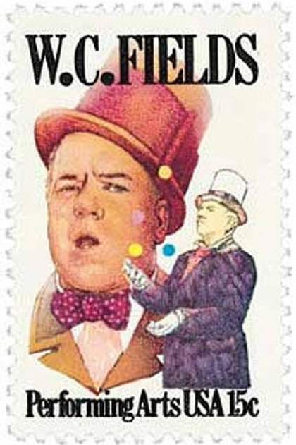 25 W.C. Fields Postage Stamps - 15c - 1980 - Unused - Quantity of 25