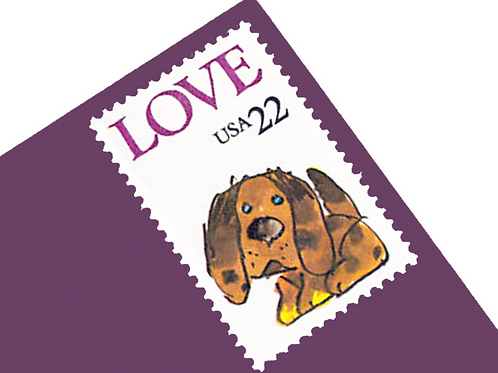 Pack of 25 Unused Puppy Love Postage Stamps - 22c - 1986 - Unused