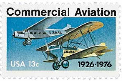 Pack of 25 Unused Commercial Aviation Stamps - 13c - 1976 - Vintage Postage