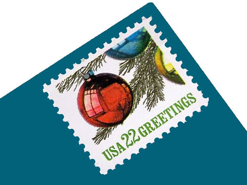 Pack of 25 Unused Vintage Christmas Ornament Stamps from 1987 - 22c - Postage